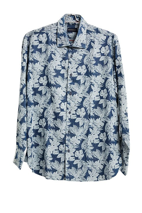 Men's Fashion Shirt by Gem Malki - Navy Tropical a