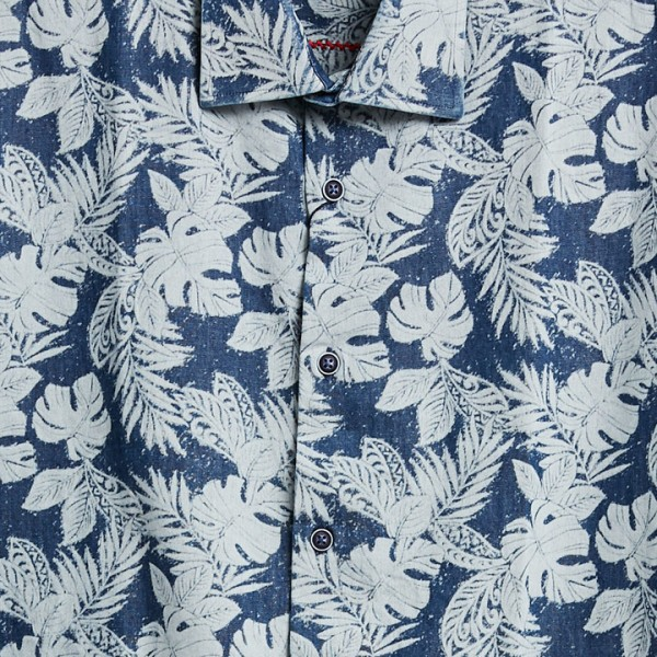 Men's Fashion Shirt by Gem Malki - Navy Tropical b
