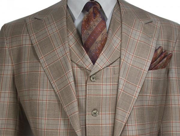 Tiglio 3 Piece Suit - Amaro - Tan / Cognac Plaid b