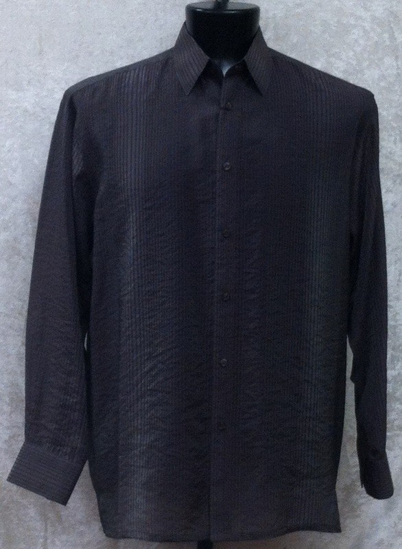 Bassiri L/S Button Down Men's Shirt - Dark Charcoal Shadow Stripe