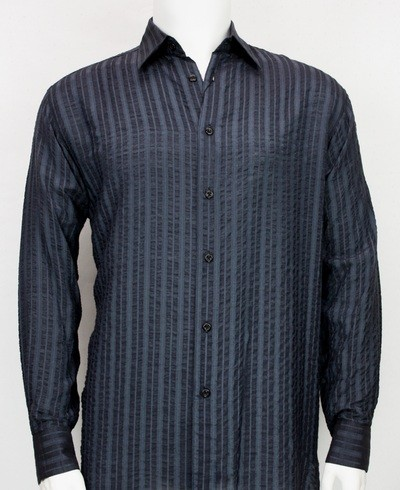 Bassiri L/S Button Down Men's Shirt - Navy Shadow Stripe