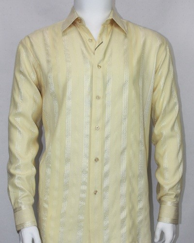 Bassiri L/S Button Down Men's Shirt - Lt Gold Shadow Stripe
