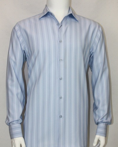 Bassiri L/S Button Down Men's Shirt - Lt Blue Shadow Stripe