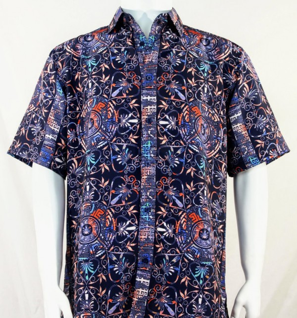 Bassiri S/S Button Down Men's Shirt - Festive Pattern / Purple