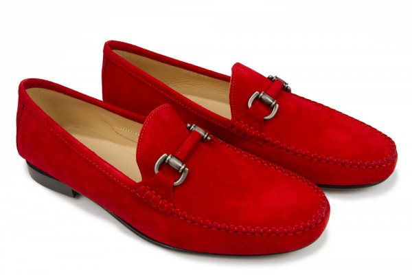 Giovanni Marquez Men's Shoes - Red Suede Loafer with Buckle