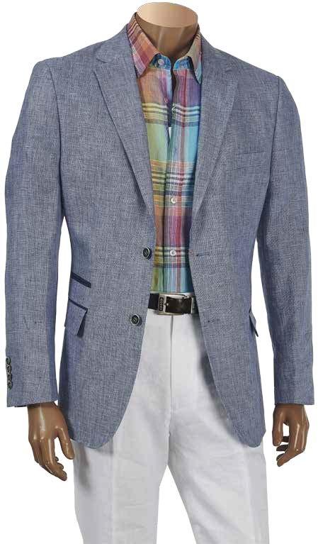 Men's Linen Blazer by Inserch / Merc - Denim Blue a