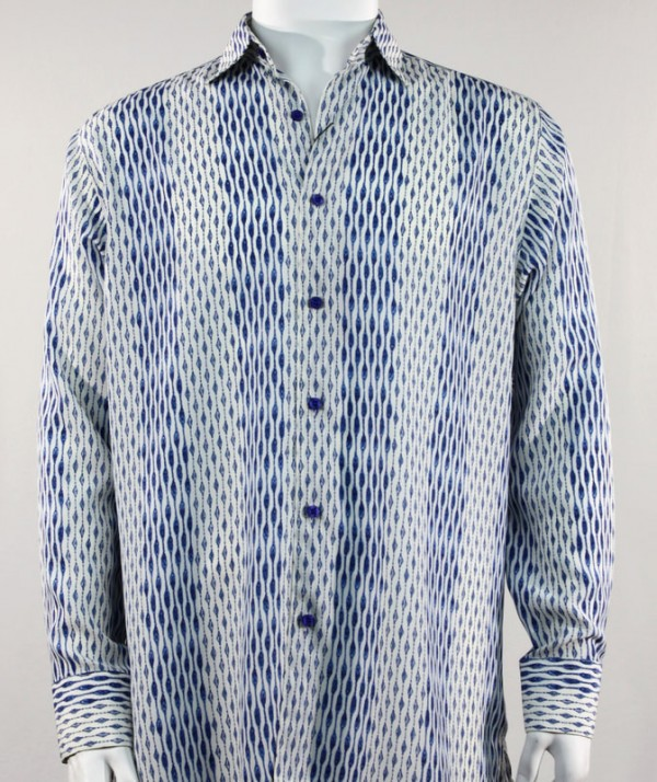 Bassiri L/S Button Down Men's Shirt - Patterned Lines Blue *NEW*
