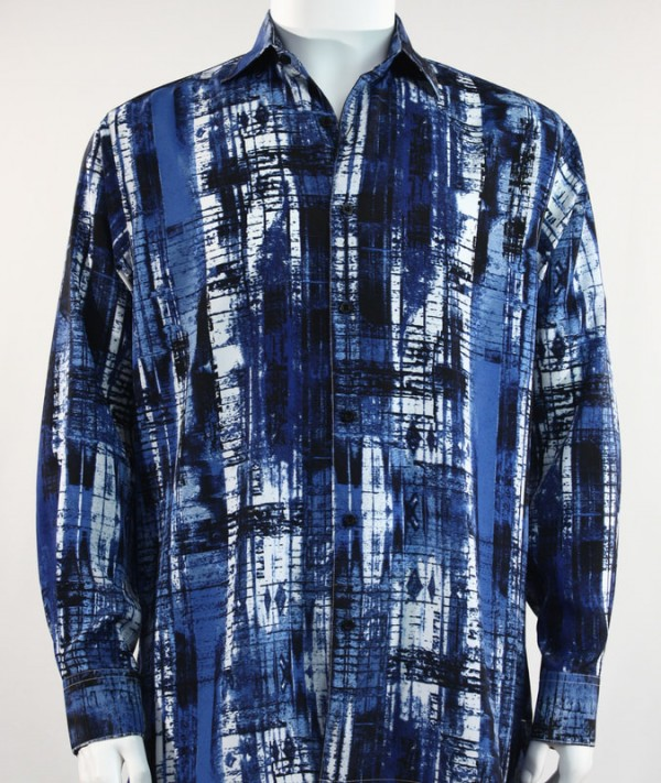 Bassiri L/S Button Down Men's Shirt - Brush Strokes Blue  *NEW*