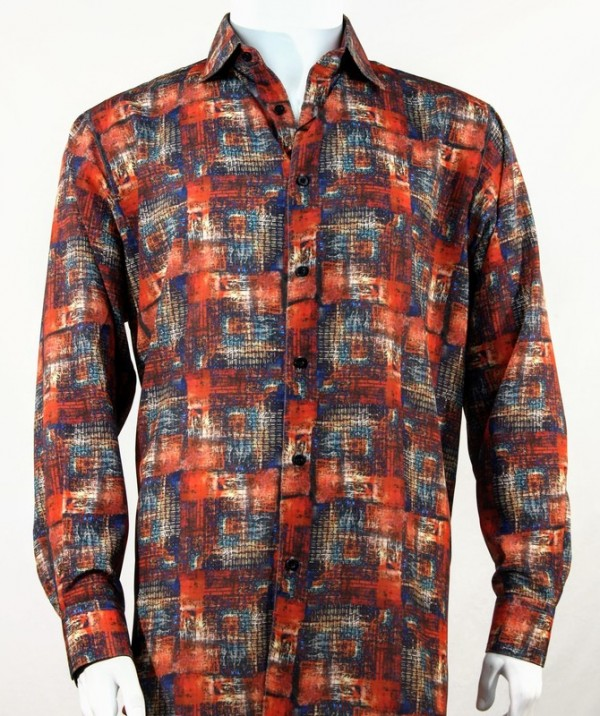 Bassiri L/S Button Down Men's Shirt - Pattern / Orange