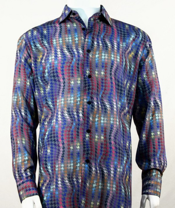 Bassiri L/S Button Down Men's Shirt - Houndstooth / Fuschia
