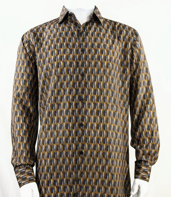 Bassiri L/S Button Down Men's Shirt - Doors / Gold