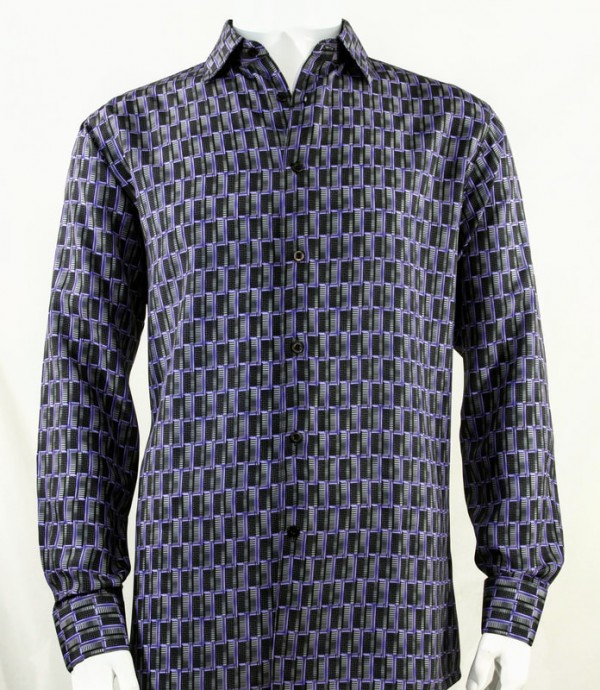 Bassiri L/S Button Down Men's Shirt - Doors / Navy