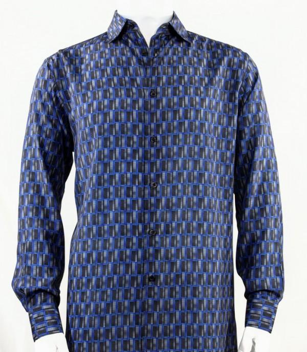 Bassiri L/S Button Down Men's Shirt - Doors / Blue