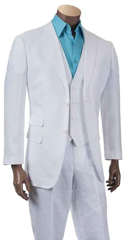 Men's 100% Linen Fashion Suit by Merc/InSerch - White