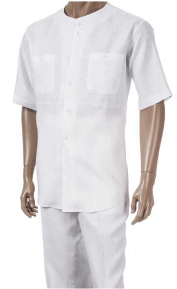 Men's 100% Linen Fashion Shirt by Merc/InSerch - White / 2 Pockets