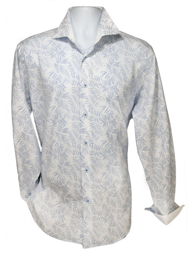 Giovanni Marquez Men's Italian Shirt - White with Leaf Pattern