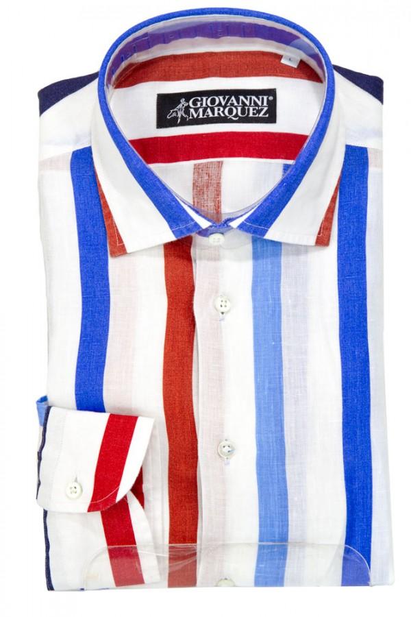 Giovanni Marquez Men's European Shirt - White with Bold Stripe