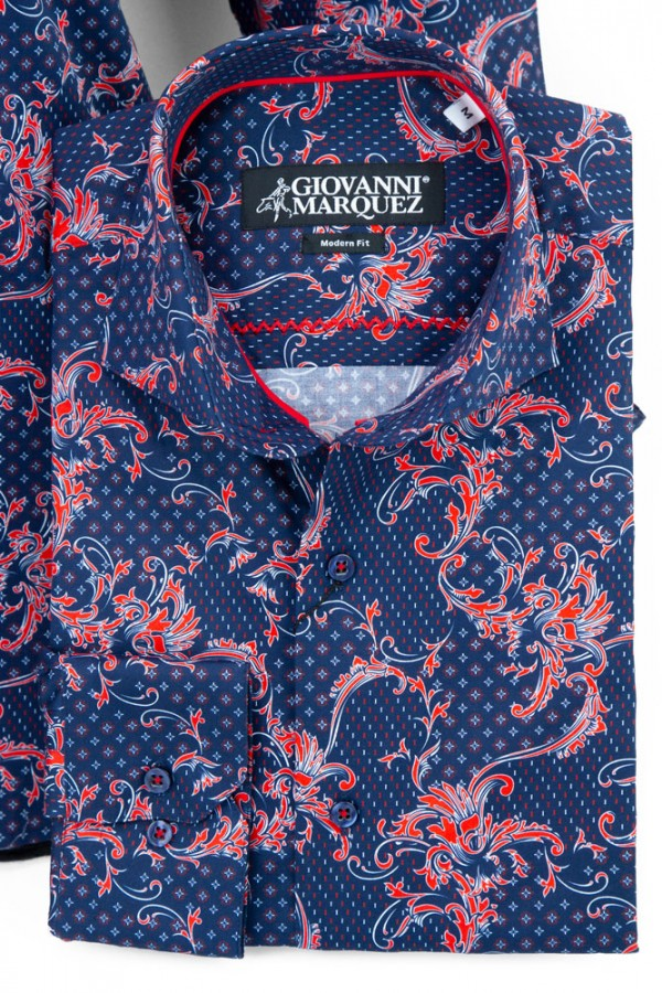 Giovanni Marquez Men's European Shirt - Navy / Red Filgree b