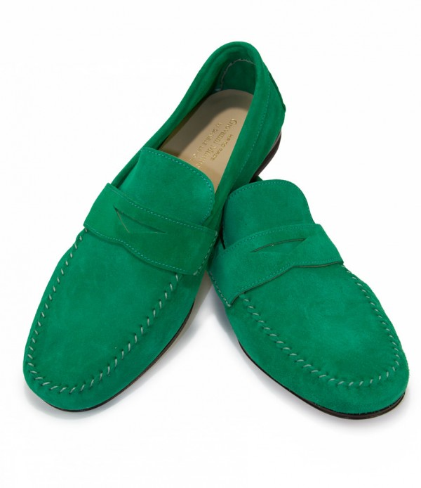 Giovanni Marquez Men's Shoes - Italian Suede Penny Loafer - Green