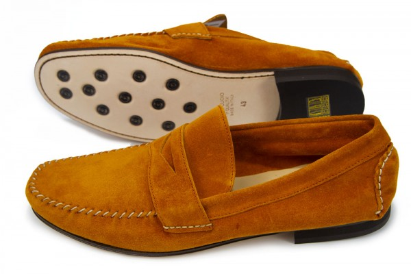Giovanni Marquez Men's Shoes - Italian Suede Penny Loafer - Rust