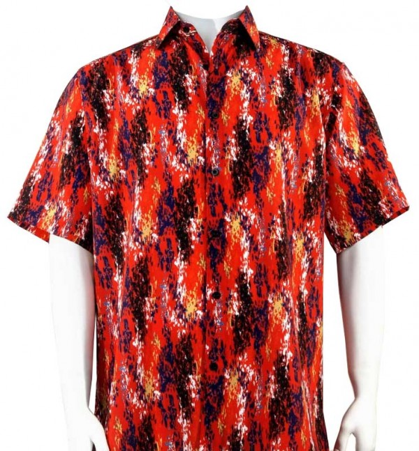 Bassiri S/S Button Down Men's Shirt - Paint Dabs / Red