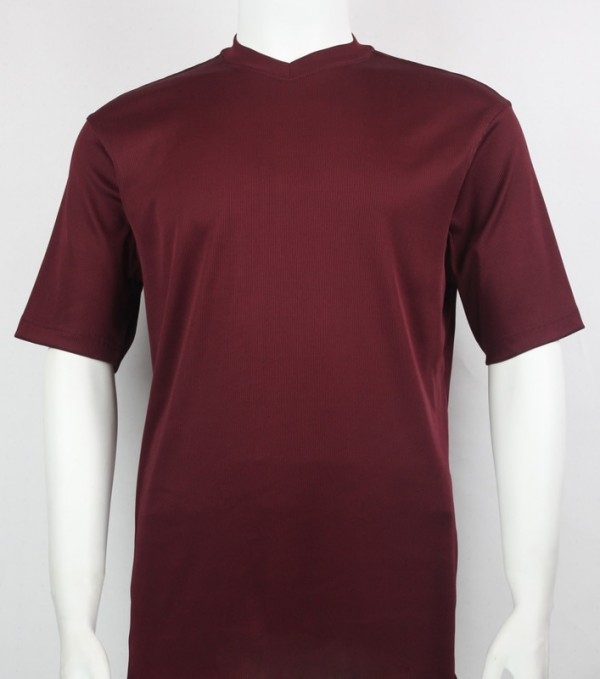 Bassiri S/S Mens V-Neck Knit Microfiber T-Shirt  Burgundy