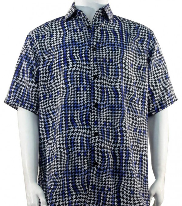 Bassiri S/S Button Down Men's Shirt - Houndstooth Pattern / Navy