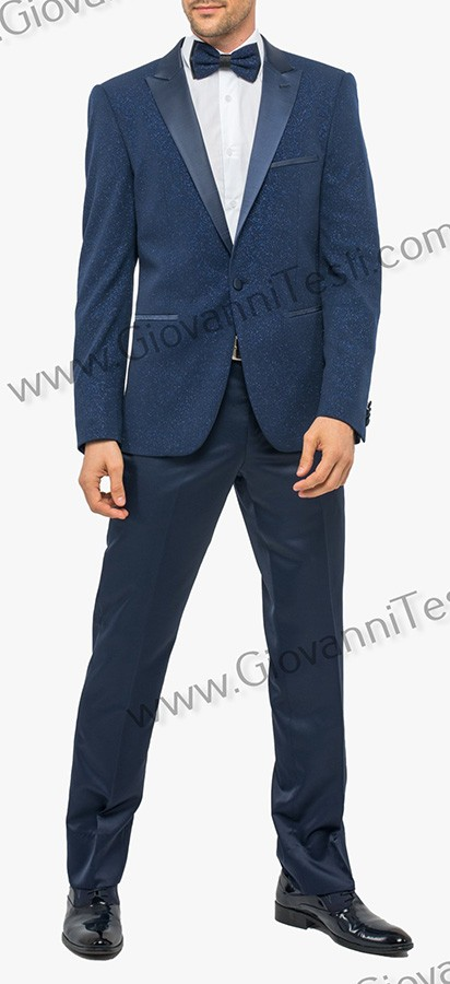 Giovanni Testi Slim Fit Tuxedo Suit - Glitter / Navy b
