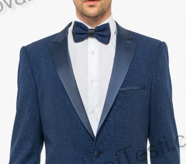 Giovanni Testi Slim Fit Tuxedo Suit - Glitter / Navy c