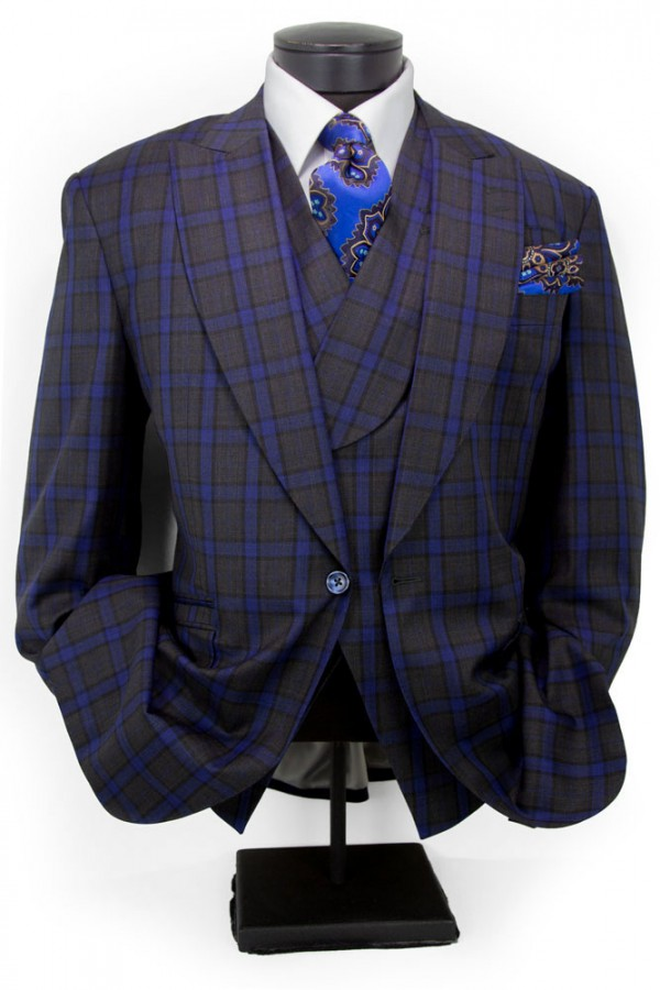Men's Suit by Tiglio - New Rosso - Grey Blue Plaid b