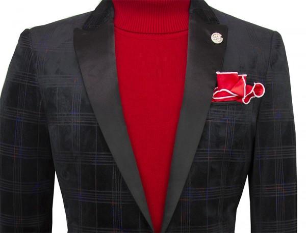Men's Fashion Blazer by Suslo - Black Shadow Plaid b