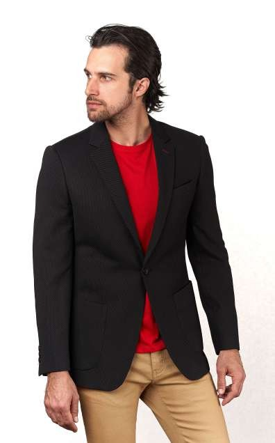 Men's Waffle-Knit Blazer by Suslo Couture - Black