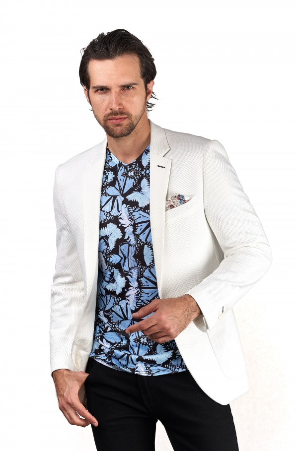 Men's Waffle-Knit Blazer by Suslo Couture - White