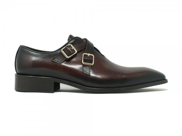 Men's Slip-On Shoes by Carrucci - Cross Buckles / Chestnut b