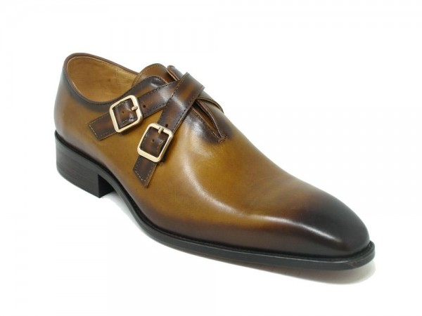 Men's Slip-On Shoes by Carrucci - Cross Buckles / Cognac