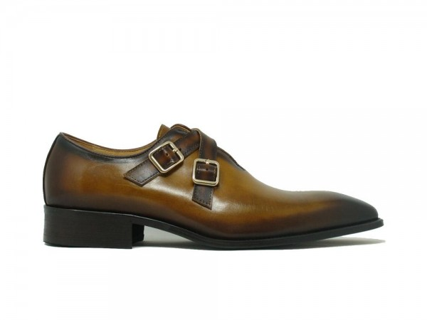 Men's Slip-On Shoes by Carrucci - Cross Buckles / Cognac b