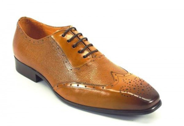 Men's Fashion Shoes by Carrucci - Cognac / Perf Lace-Up