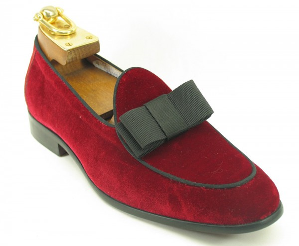 Men's Fashion Shoes by Carrucci - Red Velvet / Bow
