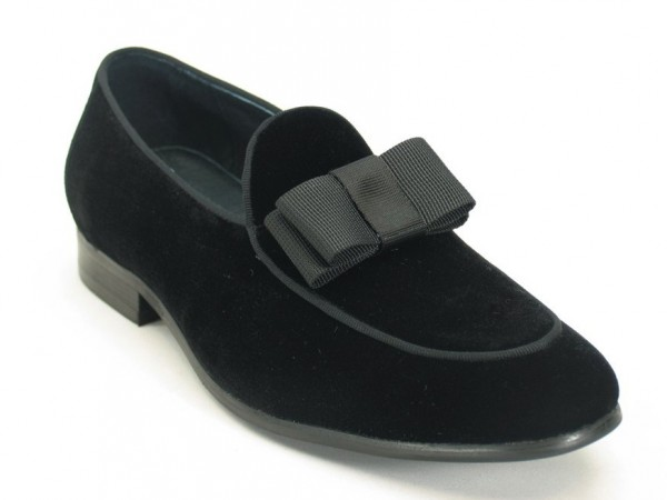Men's Fashion Shoes by Carrucci - Black Velvet / Bow