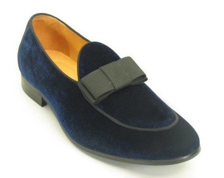 Men's Fashion Shoes by Carrucci - Navy Velvet / Bow