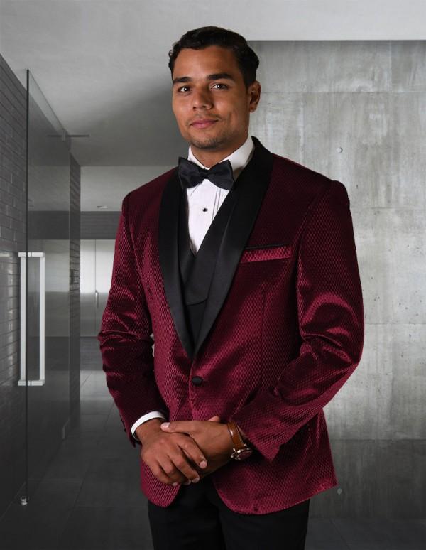 Men's Tux - Tailored Fit - Velvet Burgundy