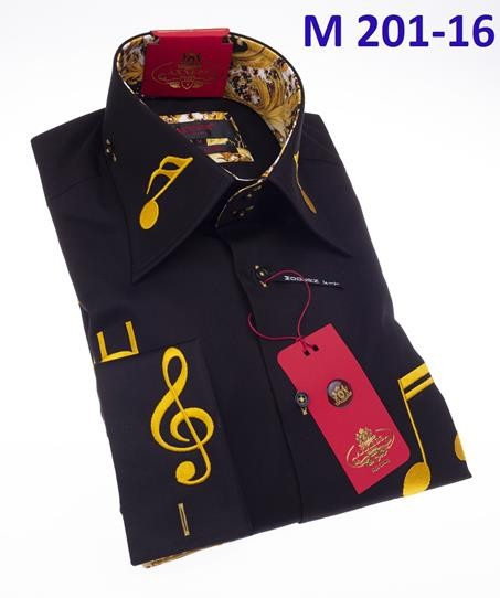Men's Fashion Shirt by AXXESS - Music / Black Gold
