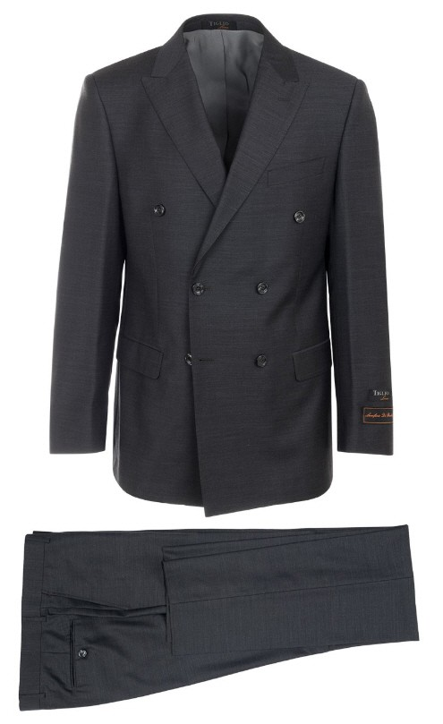Tiglio Luxe Modern Fit Men's Suit - Merlot DB Charcoal Gray