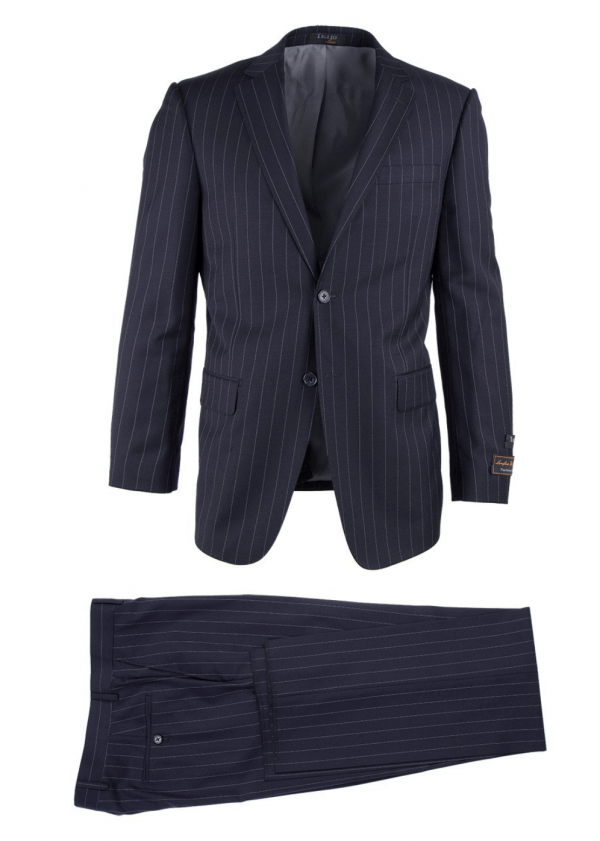 Novello Modern Fit Luxe Suit by Tiglio - Black Pinstripe