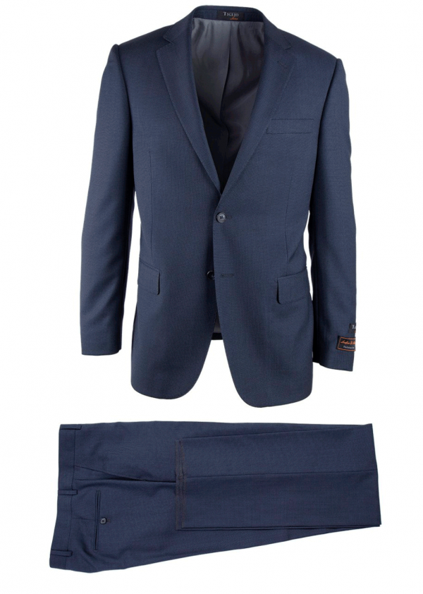 Novello Modern Fit Luxe Suit by Tiglio - Blue Birdseye