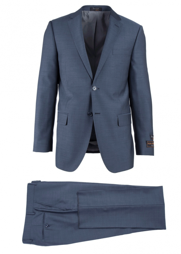 Novello Modern Fit Luxe Suit by Tiglio - Blue Herringbone