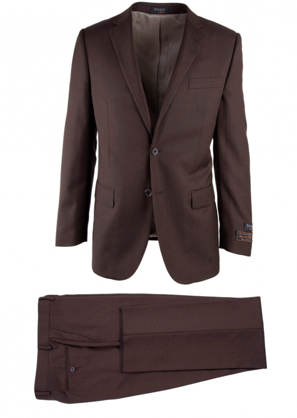 Novello Modern Fit Luxe Suit by Tiglio - Brown Birdseye