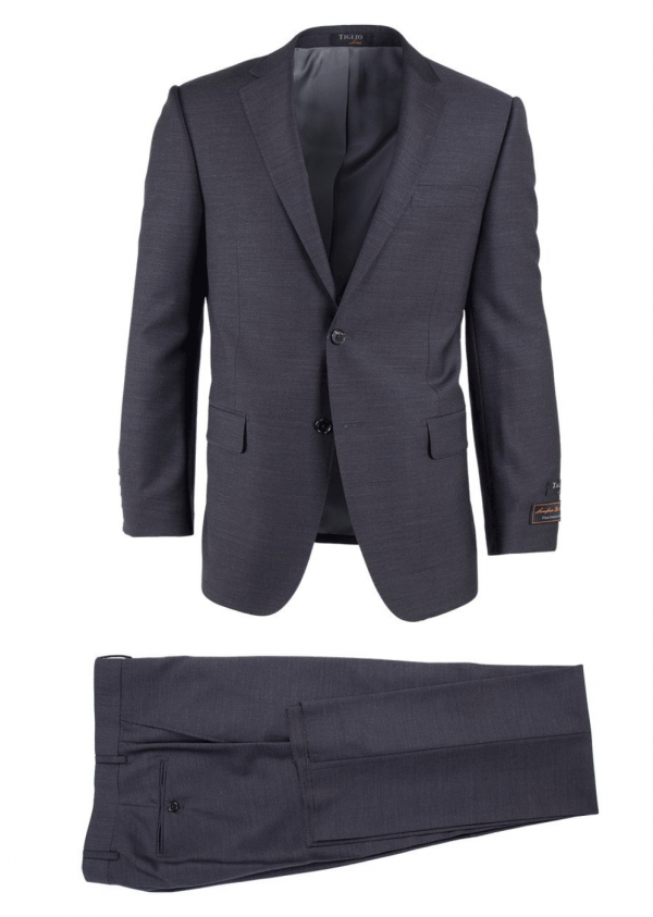 Novello Modern Fit Luxe Suit by Tiglio - Charcoal Gray