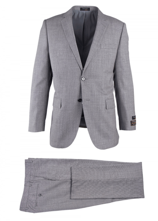 Novello Modern Fit Luxe Suit by Tiglio - Light Gray Birdseye