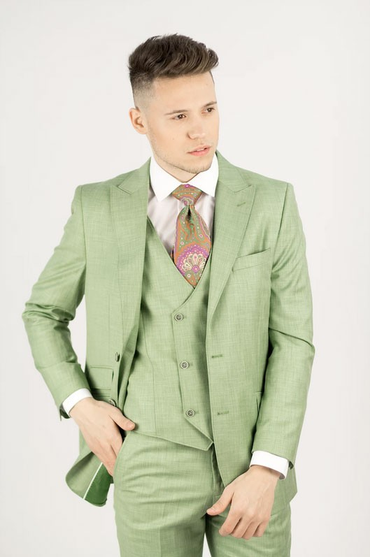 Needle & Stitch Men's Modern Fit 3 Piece Suit - Green